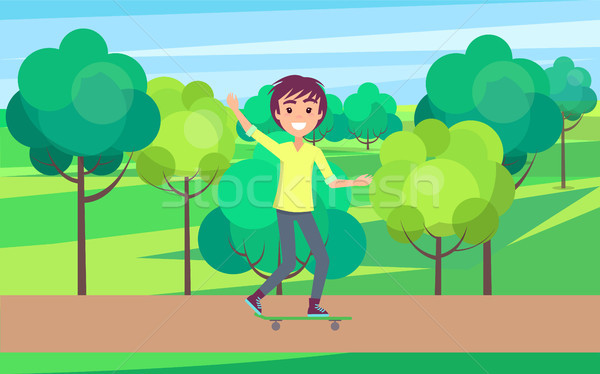 Smiling Skateboarder Outdoors, Young Skater Riding Stock photo © robuart