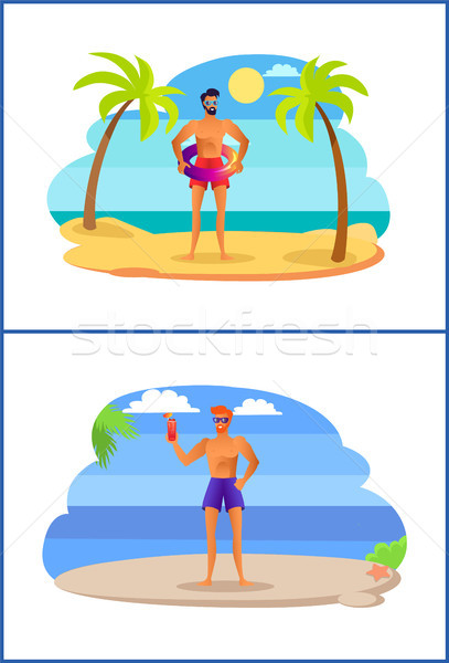 Due uomini divertimento estate tropicali Foto d'archivio © robuart