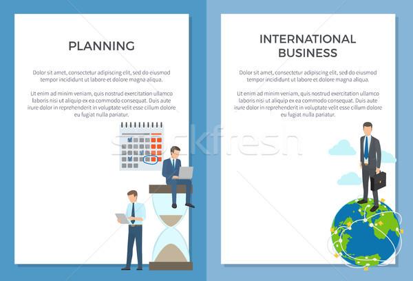 Planning internationale bedrijfsleven ingesteld posters zakenman reusachtig Stockfoto © robuart