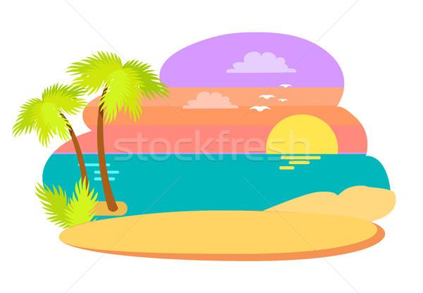 Coast in Summer Season Evening Vector Illutration Stock photo © robuart