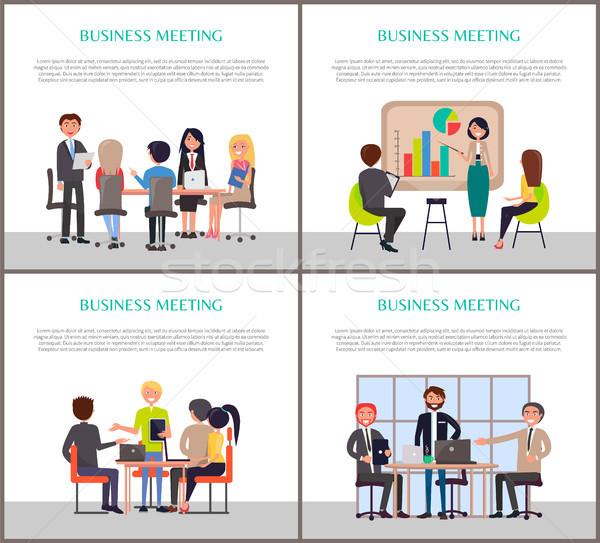 деловое совещание плакатов люди работу набор мужчин Сток-фото © robuart