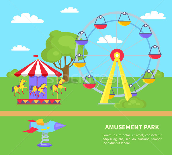 Pretpark sightseeing wiel paarden raket spinnen Stockfoto © robuart