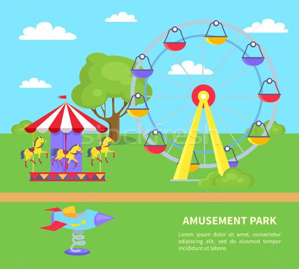 Amusement Park Sightseeing Wheel, Merry-Go-Round Stock photo © robuart