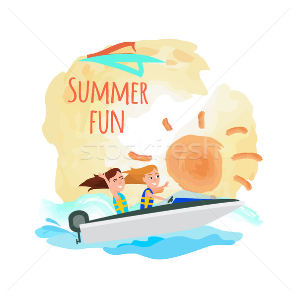 Summer Fun Poster Boating Girls, Water Adventure Stock photo © robuart