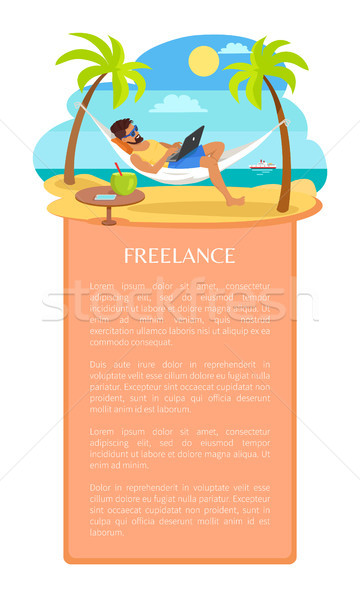 Freelance Vector Poster with Man Lying on Hammock Stock photo © robuart