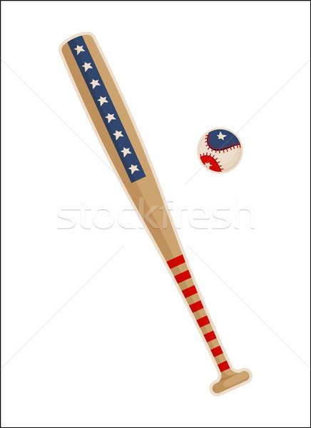 Taco de beisebol bola EUA símbolos padrões isolado Foto stock © robuart