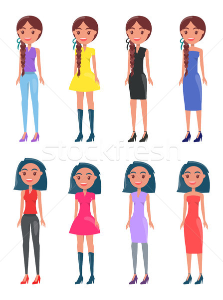 Brunette Braided Girls in Modern Casual Looks Set Stock photo © robuart
