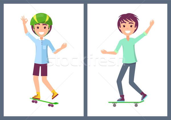 Gyűjtemény tinédzserek visel póló lovaglás gördeszka Stock fotó © robuart