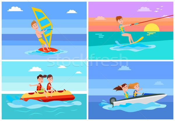 Zomertijd activiteiten ingesteld het windsurfen banaan boot Stockfoto © robuart