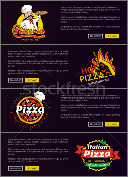 Hot Italian Pizza Fast Delivery Web Pages Set Stock photo © robuart