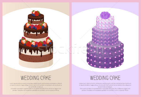 Wedding Cakes Set Sweet Bakery Posters Vector Text Stock photo © robuart