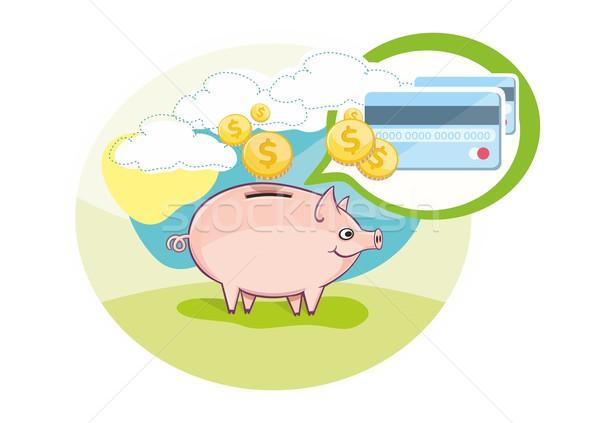 Stock fotó: Kártya · rózsaszín · persely · érmék · rajz · terv