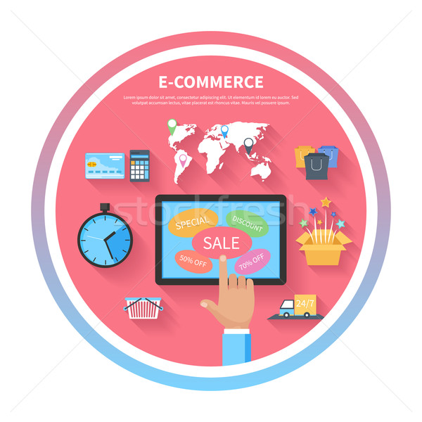 Internet shopping concept with monitor screen Stock photo © robuart