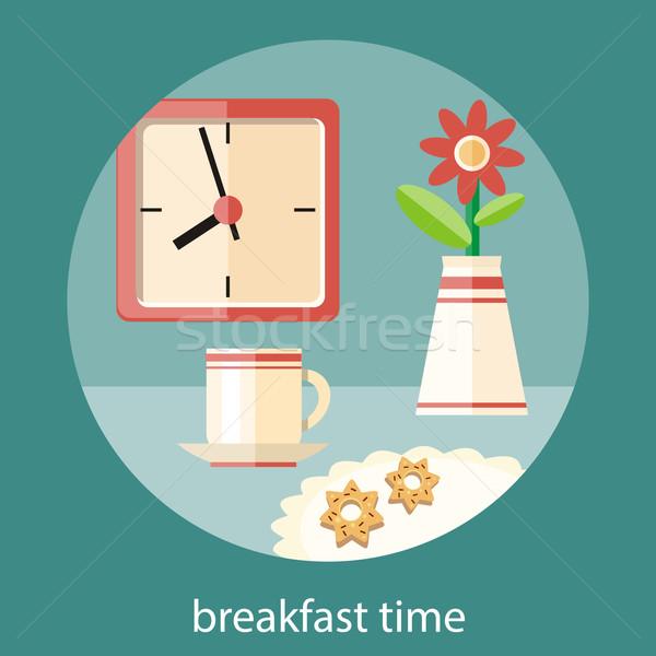 Stock fotó: Reggeli · idő · kávéscsésze · váza · virág · tányér