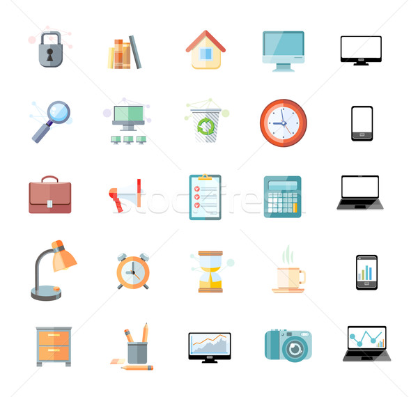 Office and time management icon set Stock photo © robuart