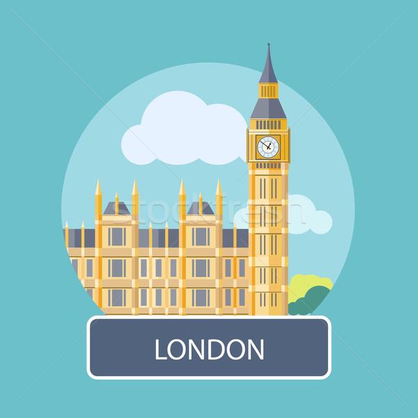 Photo stock: Big · Ben · westminster · pont · Londres · affiche · cartoon