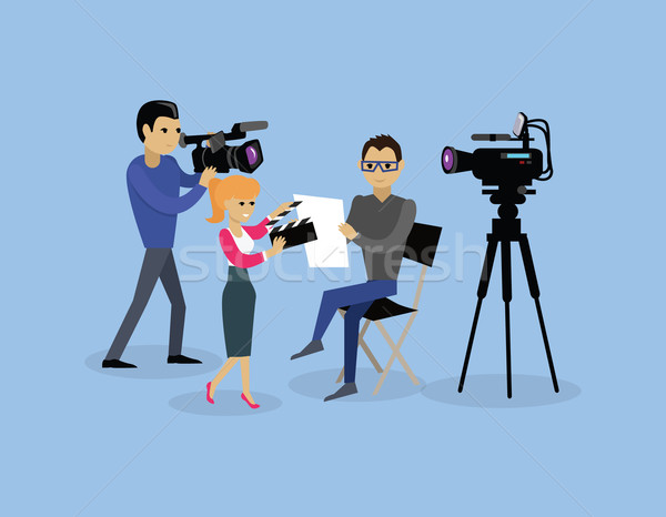 Camera Crew Team People Group Flat Style Stock photo © robuart
