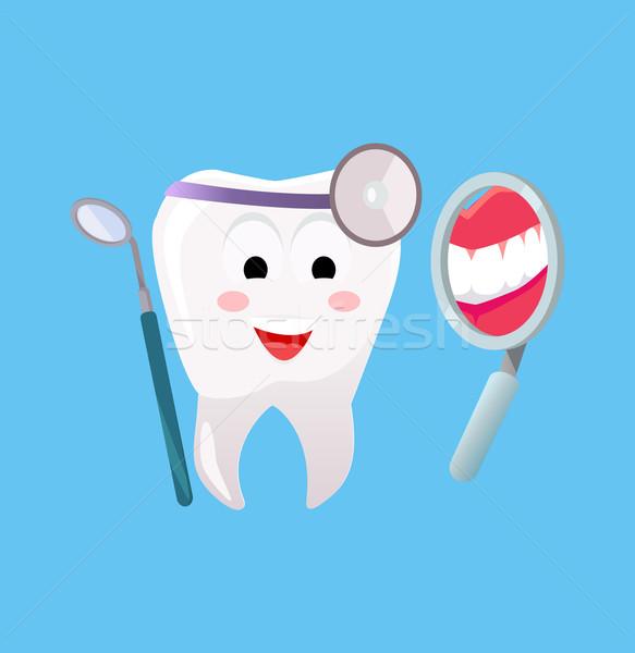 лечение зубов баннер плакат Cartoon зубов стоматологических Сток-фото © robuart
