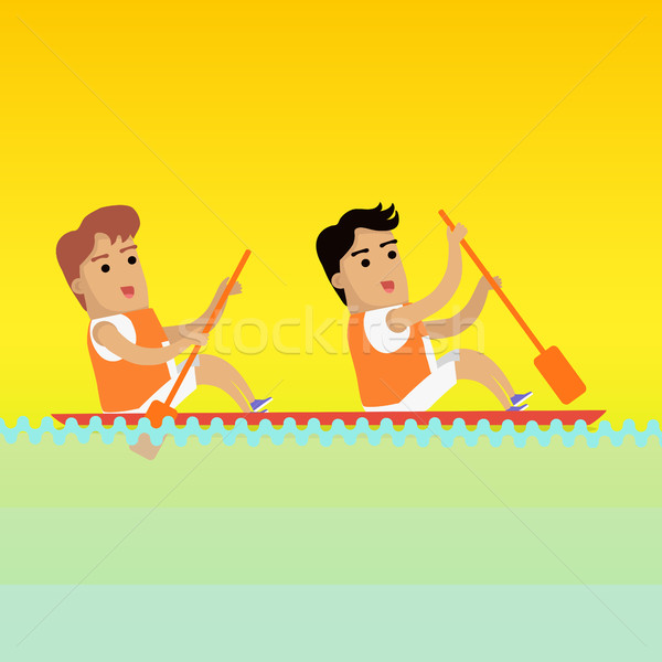 Canoa remo esportes bandeira dois homem Foto stock © robuart