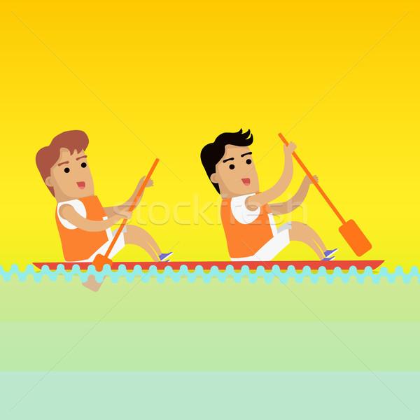 каноэ гребля спортивных баннер два человека Сток-фото © robuart