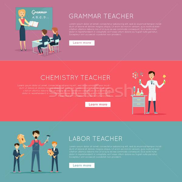Stock foto: Set · Banner · unterschiedlich · Berufe · pädagogisch · Grammatik