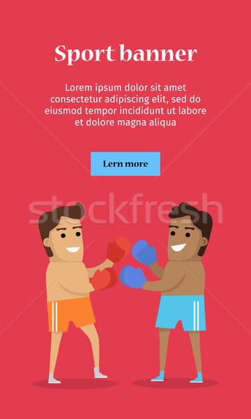 Dois homem boxe esportes bandeira calção Foto stock © robuart
