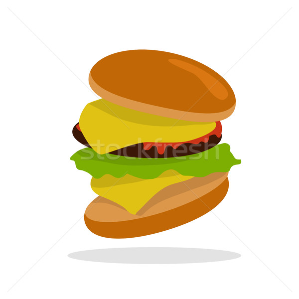 Gamburger Isolated. Hamburger with Meat. Junk Food Stock photo © robuart