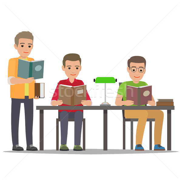 Student Reading Textbook in Library Flat Vector  Stock photo © robuart