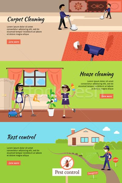 Casa limpieza alfombra banners tareas de la casa Foto stock © robuart