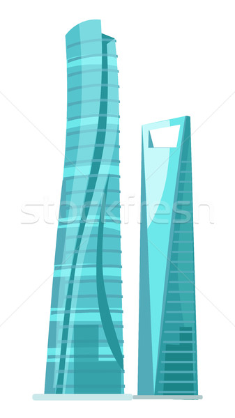 Skyscraper Two Glass Buildings Isolated on White Stock photo © robuart