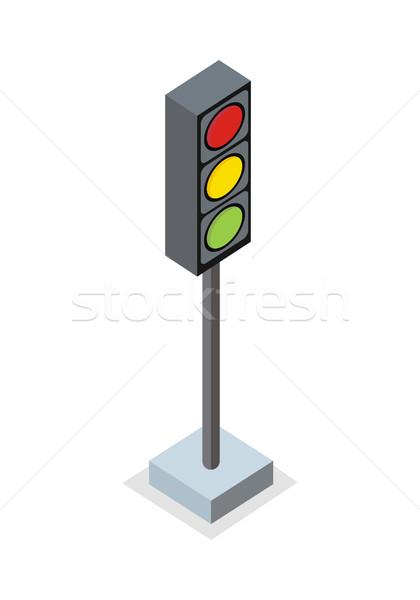 Izometrikus jelzőlámpa ikon áll tilos város Stock fotó © robuart