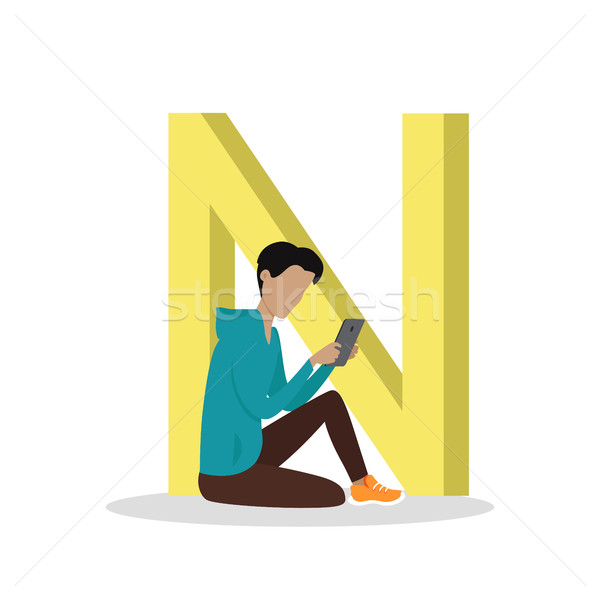 N Letter and Boy Reading E Book. ABC Vector Stock photo © robuart