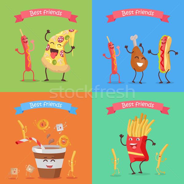 Grappig voedsel kinderachtig menu banner Stockfoto © robuart