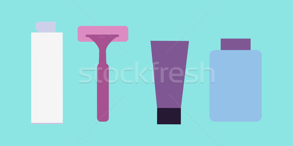 Elemek fiúk arc mos kellékek mosás Stock fotó © robuart