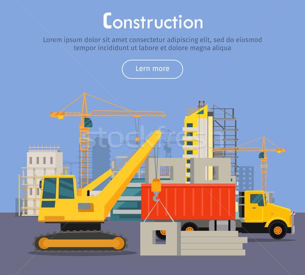 Budować banner stylu nowoczesny budynek proces Zdjęcia stock © robuart