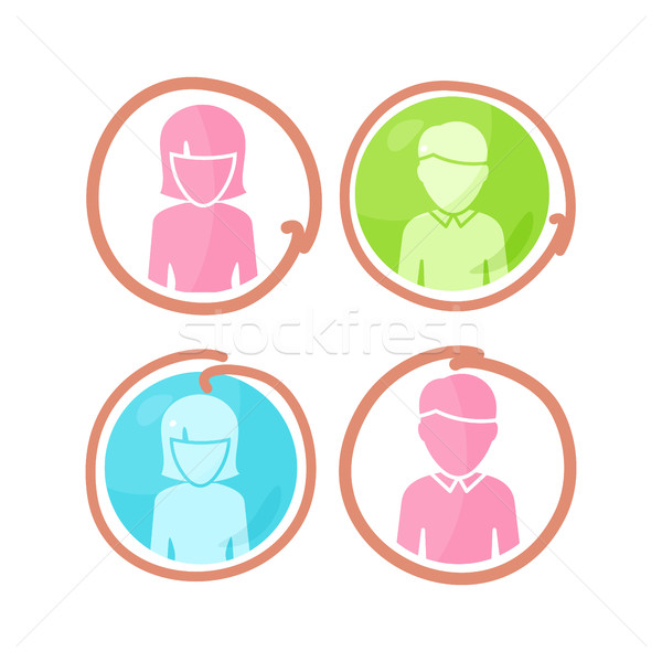 Ingesteld mensen kleur pictogrammen avatar Stockfoto © robuart