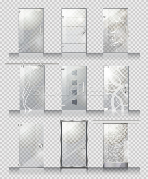 Set of Various Types of Contemporary Glass Doors Stock photo © robuart
