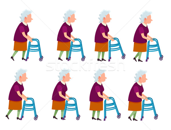 Old Woman with Rolling Walker Simple Cartoon Style Stock photo © robuart