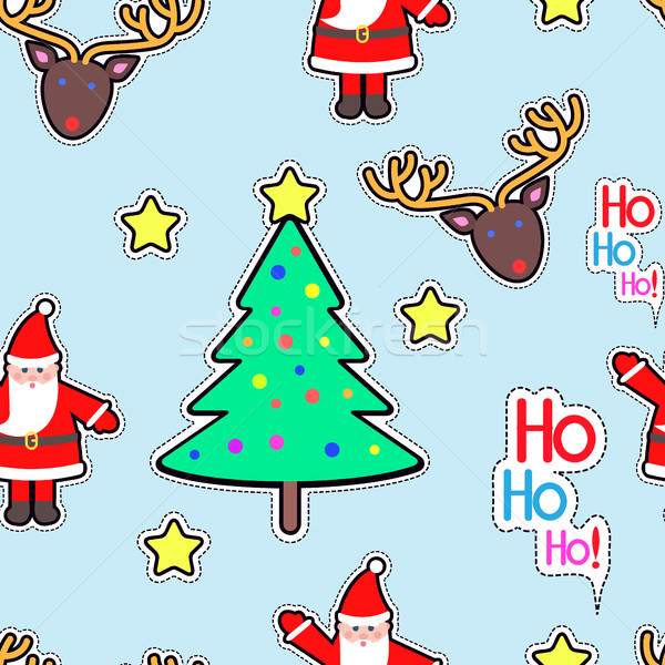 Santa Clause, Deer, Tree Star Seamless Pattern. Stock photo © robuart