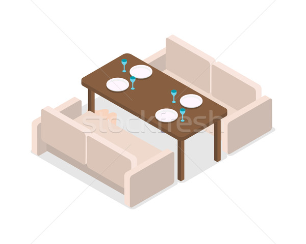 Restaurant. Inteior. Laid Table and Two Sofas Stock photo © robuart