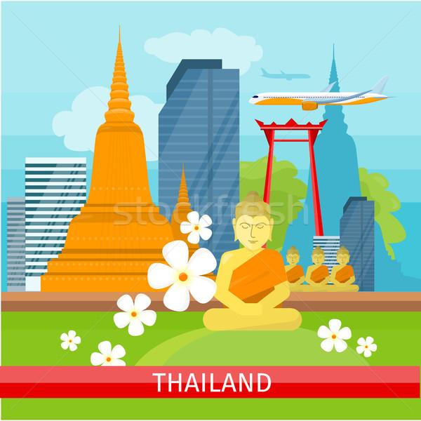 Banner thai landschap traditioneel wolkenkrabbers Stockfoto © robuart