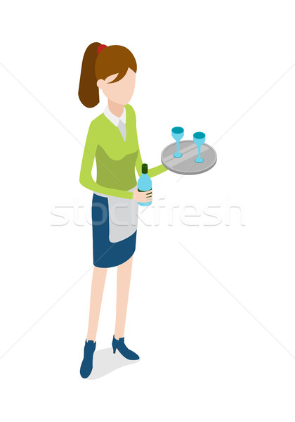 Restaurant. Waitress with Metal Tray and Bottle Stock photo © robuart