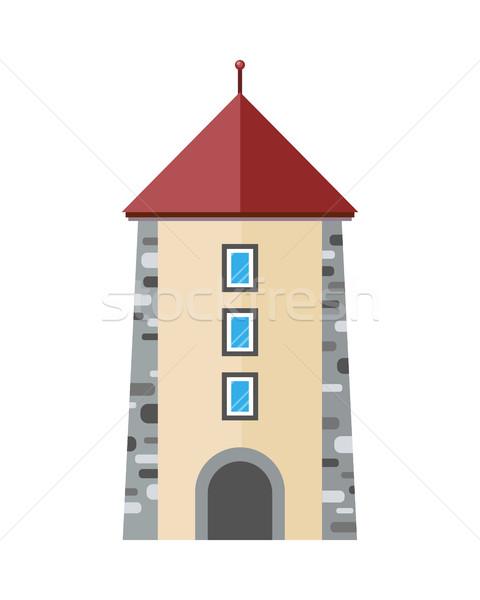 Középkori város torony ikon ősi kő Stock fotó © robuart