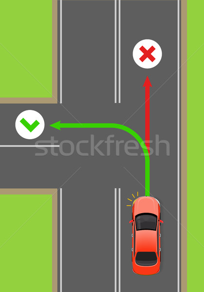 Car Left Turn Rule Flat Vector Diagram Stock photo © robuart