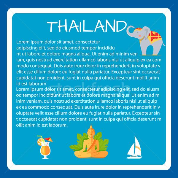 Vektor turisztikai szalag szöveg szimbólumok minta Stock fotó © robuart