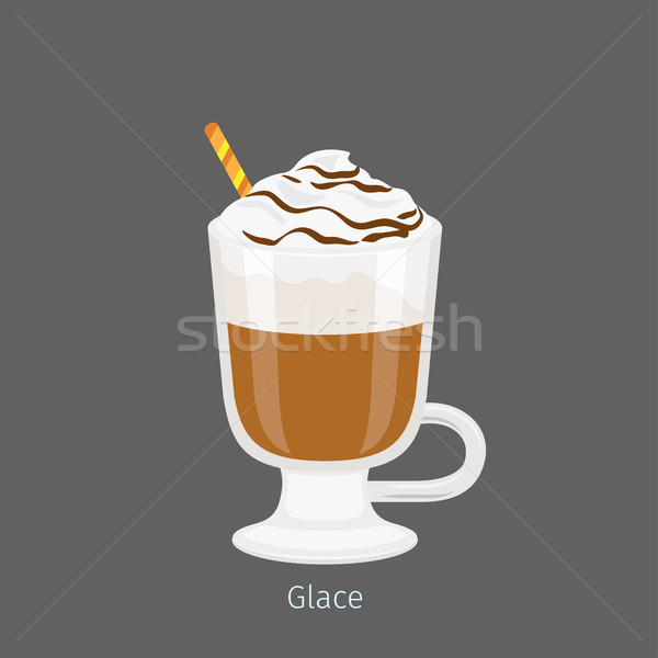 Irish Glass Mug with Coffee Glace Flat Vector Stock photo © robuart