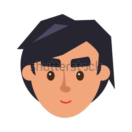 Physiognomy of Boy. Brunet Haired Man Face Profile Stock photo © robuart