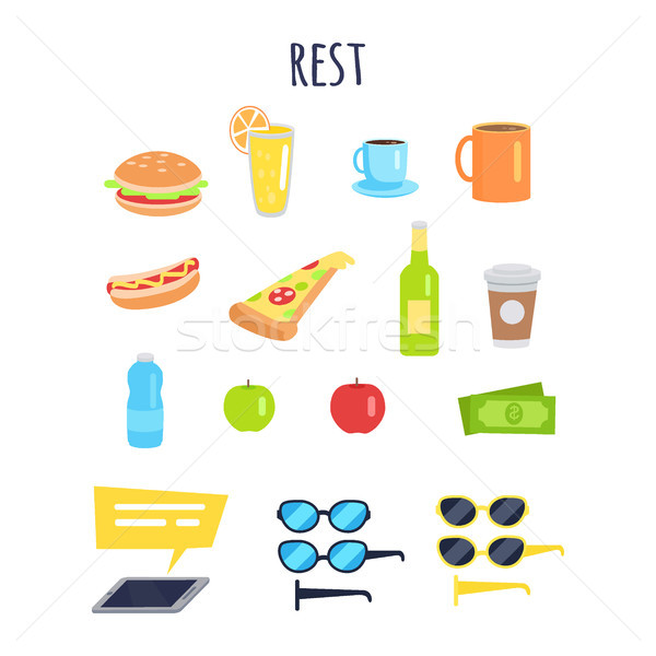 Set of Rest for Men Accessories and Food Graphic Stock photo © robuart