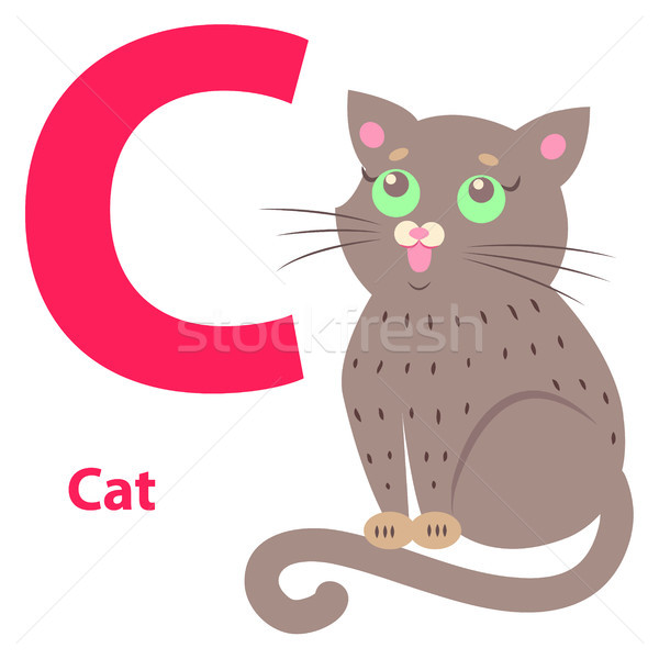 Alphabet Illustration for Letter C with Cute Cat Stock photo © robuart