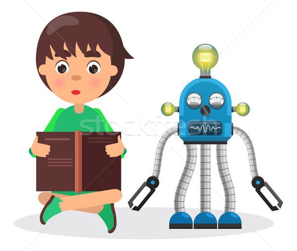Chłopca książki obok robot lampy mały Zdjęcia stock © robuart